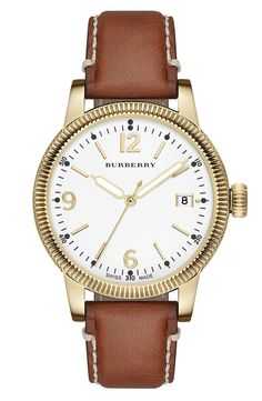 Burberry 'Utilitarian' Round Leather Strap Watch, 38mm available at #Nordstrom