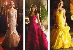 Caroline Elena and Rebekah's prom dresses. I'm not a big fan of yellow but Bekah's is so pretty :)