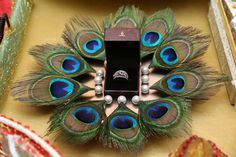 Want a low budget ring platter decor ? Take a tray, put your rings on it and add some pearls attached with Desi Wedding Decor, Indian Wedding Decorations, Wedding Crafts, Wedding Ideas, Indian Wedding Gifts, Diwali Decorations, Wedding Pictures, Wedding Colors, Wedding Flowers