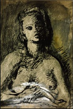 John Piper. Figure Drawing, 1941. Pen and ink with grey wash and crayon on Whatman paper