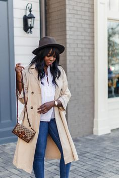 Gucci Lady Web Small Bag + Trench Coat + NYDJ Modern Edit Jeans | MILLENNIELLE