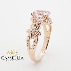 14 Karat Rose Gold Round Cut 7mm Morganite by CamelliaJewelry