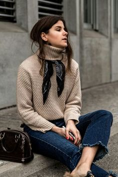 scarf under turtle neck