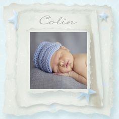 Geboortekaartjes - Fotokaart vintage papier sterren vj15