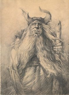 Petar Meseldzija Art - Div (Giant) - pencil drawing done in a copy of the Serbian edition of The Legend of Steel Bashaw, 2011