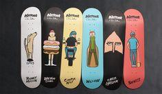 Jean Jullien Designs Whimsical Skate Decks for Almost Skateboards : The renowned illustrator's original designs are featured across seven boards. Skateboard Design, Skateboard Decks, Almost Skateboards, Doodle Paint, Skate Decks, Skate Surf, Central Saint Martins, Royal College Of Art, Boards