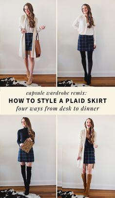 Capsule Wardrobe Remix: How to Wear a Plaid Skirt, Four Ways. #Winter #capsulewardrobe