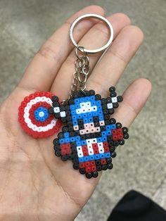 Hama beads captain America keychain