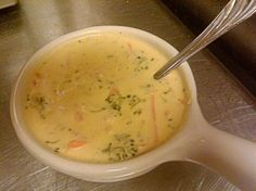 Recipe for Panera Bread's Broccoli Cheese Soup.
