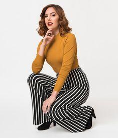 437746fb055 Retro Style Black   White Stripe Stretch Knit Palazzo Pant