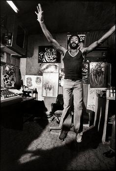 "nightthief: Lee ""Scratch"" Perry at the Black Ark Studio. Photo by David Burnett (via Reggae Studios) Reggae Rasta, Reggae Music, Music Pics, Music Images, Lee Perry, Dub Music, Afro, Reggae Artists, Jamaican Music"
