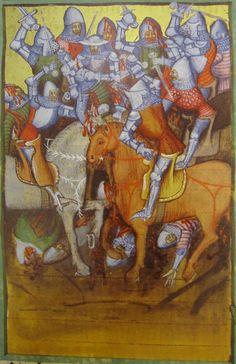 Germany 1389, particolarmente interessante la protezione fornita dalla sella alla gamba dwl cavalere a sinistra in primo piano