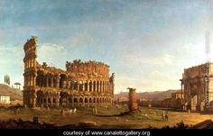 Colosseum and Arch of Constantine, Rome - (Giovanni Antonio Canal) Canaletto - www.canalettogallery.org