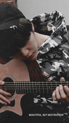 The girl drunk a coffe at the window when the rain is falling. Yoongi is playing… The girl drunk a coffe at the window when the rain is falling. Yoongi is playing the guitar. Jimin, Min Yoongi Bts, Bts Bangtan Boy, Suga Suga, Daegu, K Pop, Agust D, Foto Bts, Suga Wallpaper