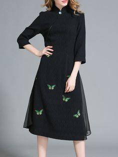 Shop Midi Dresses - Black Stand Collar 3/4 Sleeve Midi Dress online. Discover unique designers fashion at StyleWe.com.