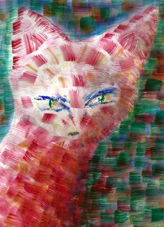 Red Cat Art Print by Geckojoy