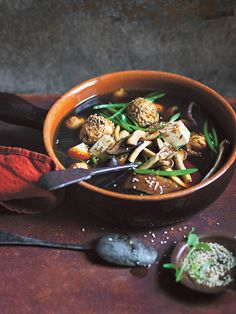 Mushroom And Ginger Soup With Turkey Dumplings And Greens | Donna Hay