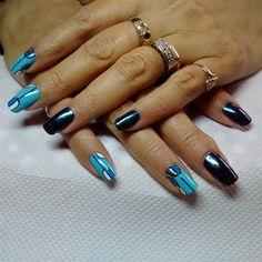 Nail art from the NAILS Magazine Nail Art Gallery, polish, Abstract Nail Art, Geometric Nail Art, Nail Art Galleries, Nails Magazine, Art Gallery, Polish, Blue, Art Museum, Vitreous Enamel
