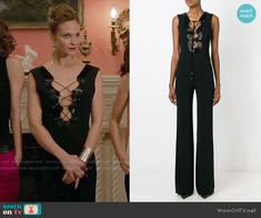 Phoebe's black lace-up jumpsuit on Girlfriends Guide to Divorce.  Outfit Details: https://wornontv.net/56419/ #GG2D