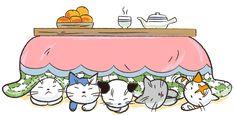 こたつにもぐる5匹の猫 イラスト