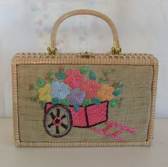 Vintage box purse wicker handbag embroidered flower cart. $60.00, via Etsy.