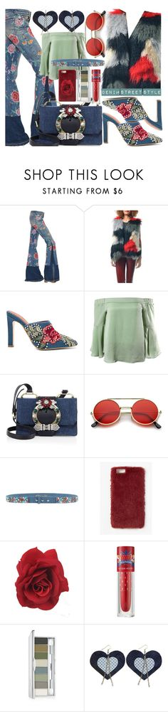 """""""Denim Street Style L👀k"""" by sanya-styleup ❤ liked on Polyvore featuring Roberto Cavalli, Jeffrey Campbell, Sans Souci, Miu Miu, ZeroUV, Manoush, Missguided, Etude House and Clinique"""
