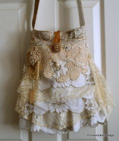 Layers of lace Ruffle down this shabby chic bag!