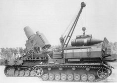 """The """"Karl-Gerät"""" (""""Karl-device""""), also known as Mörser """"Karl"""", was a German self-propelled siege mortar designed and built by Rheinmetall. Its heaviest munition was 24 inches in diameter, at 4,780 pounds. The range for its lightest shell of 2,760 pounds was just over 6.2 miles. Each gun had to be accompanied by a crane, a heavy transport trailer, and several modified tanks to carry the shells. Seven guns were built, six of which saw combat between 1941 and 1945."""