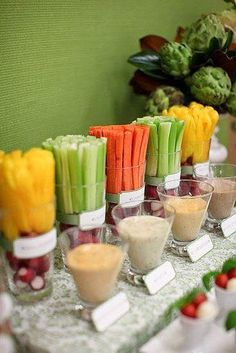 A healthy alternative to the dessert table - fruit & vege brunch table. Love the way the veggies have been arranged! Healthy Brunch, Healthy Snacks, Healthy Eating, Healthy Recipes, Fruit Snacks, Healthy Birthday Snacks, Desserts Fruits, Healthy Finger Foods, Vegetarian Snacks