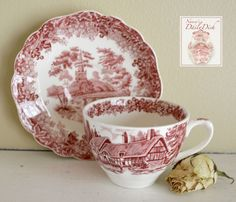 Vintage Red Transferware Tea Cup & Saucer Church Cottage Romantic Engl