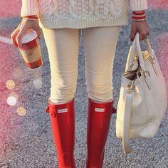 love this look!!! // Wearing @sheinside_official @jcrew @hunterboots @toryburch #ontheblog #wiw #wiwt #Padgram