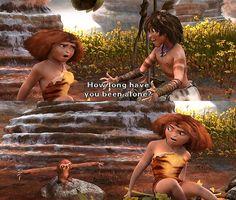 The Croods Wie lange bist du schon allein? Disney Pixar, Disney Memes, Disney And Dreamworks, Walt Disney, Dreamworks Movies, Dreamworks Animation, Film Serie, Funny Cute, Hilarious