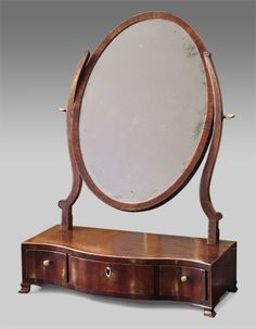 George III mahogany toilet mirror, oval plate set within a crossbanded frame on shaped supports. Description from pinterest.com. I searched for this on bing.com/images