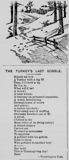 Turkey's Last Gobble Poem 1889 | by VTDNP