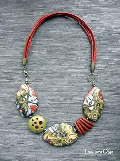Olga Ledneva Necklace. Cernit: №428 (red poppy), №057 (copper), №050 (gold), №058 (bronze), №055 (antique gold), №080 (silver), №010 (white glamor), №100 (black), №645 (olive), №005 (white translucent)