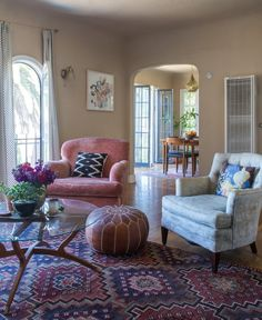 Allison's Silver Lake Charmer With a View  House Tour - this photo makes me happy, the soft light, cozy chairs, architectural features, sigh….
