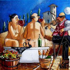 aylogyros news: «Τα κουμπάρια»… Φέτος δεν έχει παραλία, έχει sangr... Sangria, Painting, Art, Art Background, Painting Art, Kunst, Paintings, Performing Arts, Painted Canvas