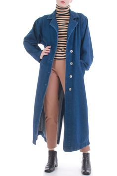 8010de8d9d6 1990s vintage long dark blue denim duster jacket with notched collar