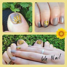 Sunflowers nail art (Grey Trianon background #Dior)  #nails #lelenail
