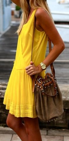 Yellow summer dress.
