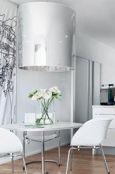 White, sleek, modern yet fun breakfast area #kitchen