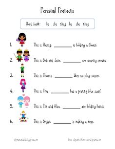 Free speech therapy worksheets and activities (articulation, receptive/expressive language) for speech-language pathologists, teachers, parents. Pronoun Activities, Pronoun Worksheets, English Grammar Worksheets, Therapy Worksheets, Free Kindergarten Worksheets, 1st Grade Worksheets, Speech Therapy Activities, Worksheets For Kids, Reading Worksheets