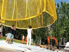 L'installazione di bam! al #MAXXI. Photo Cecilia Fiorenza, courtesy Fondazione MAXXI #yellow #pavilion #temporary #summer