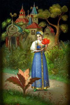 The Scarlet Flower fairy tale - Fedoskino miniature