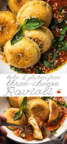 Gluten Free & Keto Three Cheese Ravioli #keto #lowcarb #glutenfree
