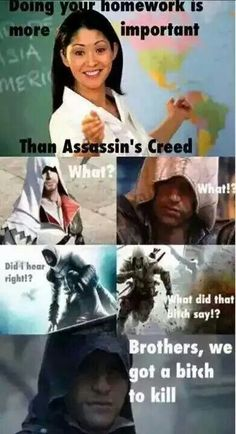 Don't mess with the Assassins of Assassins Creed Assassins Creed Quotes, Assassins Creed Black Flag, Assassins Creed Odyssey, Assassins Creed Cosplay, Funny Gaming Memes, Gamer Humor, Funny Memes, Assassin's Creed I, Dimples
