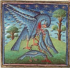 "In medieval Europe, the pelican was thought to be particularly attentive to her young, to the point of providing her own blood when no other food was available. As a result, the pelican became a symbol of the Passion of Jesus and of the Eucharist. It also became a symbol in  bestiaries for self-sacrifice, and was used in heraldry (""a pelican in her piety"" or ""a pelican vulning (wounding) herself""). Another version of this is that the pelican used to kill its young and then resurrect them..."