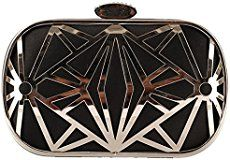 Tina Women's Perforated Crystal Studded Chain Strap Wedding Evening Clutch Bag Black