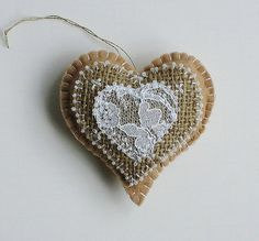 Felt Heart Hand Embroidered Beaded Tan Burlap and Lace