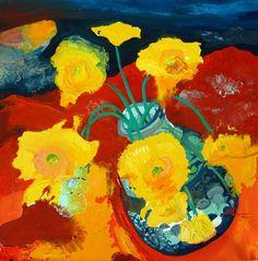 Joseph Demaree - Yellow Daisies - 20 x 20 - Oil